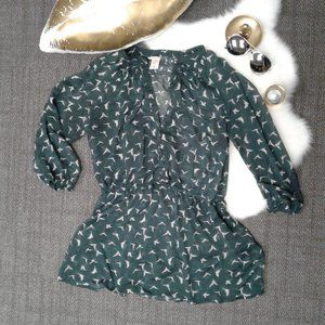Mossimo Green Bird Blouse XL